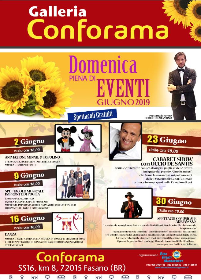 hot sale online 8867b 713f7 Le Domeniche di Giugno Conforama Fasano (BR) | Etnaeventi ...